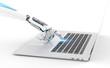 Leinwanddruck Bild - White robot cyborg hand pressing a keyboard on a laptop 3D rendering