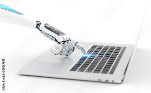 Leinwanddruck Bild White robot cyborg hand pressing a keyboard on a laptop 3D rendering