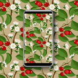 Smartphone with colorful wallpaper, of seamless cherry blossom tree pattern, vector illustration.