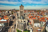 GENT, BELGIUM - May 6th, 2016: Aerial view to the center of the city and St. Nicholas church - 249473674