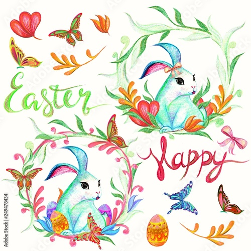 easter bunny with floral and butterfly hand drawn pastel - 249478434