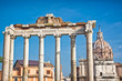 View of  ruins of the Roman Forum in Rome, Italy with blue sky