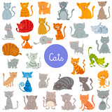 funny cat and kitten characters large set