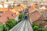 Panoramic view of Zagreb, Tomic street and Zagreb funicular connecting Lower and Upper historic parts of the city, Croatia