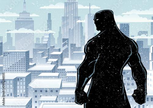 Superhero Back City Winter Silhouette
