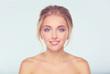 Quadro Portrait of beautiful woman on white background .