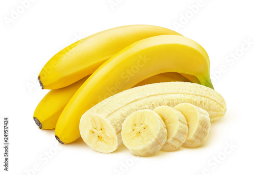 Bunch of bananas isolated on white background - 249517424