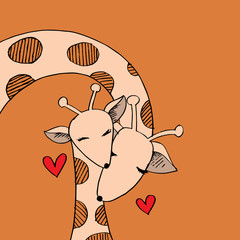 Cartoon giraffe mom and baby cute