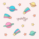 Space objects hand drawn color universe on white background