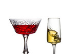 breathtaking transparent glasses filled with bright wine close up - 249541030