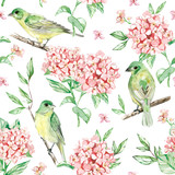 hand painted watercolor seamless pattern: birds and flower, leaf, branch, isolated on background.