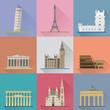 European Landmarks Flat Design Long Shadow Vector Illustration