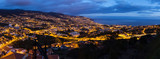 Beautiful 180 degree panoramic cityscape panorama of the city Funchal, on the island Madeira at night in summer - 249557082