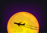 silhouette of the plane flying against the background of the full moon and the starry night sky, horizontal vector illustration