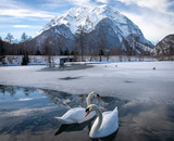 grimming w górach zimą, styria, austria