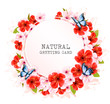 Spring nature getting card with a colorful flowers and butterflies. Vector