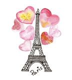 Eiffel Tower on the background of watercolor heart.