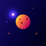 Planet in space vector graphics