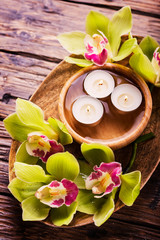 orchid and candles