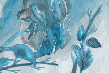 Blue watercolor texture with abstract washes and brush strokes on the white paper background.