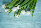 white tulips on turquoise surface