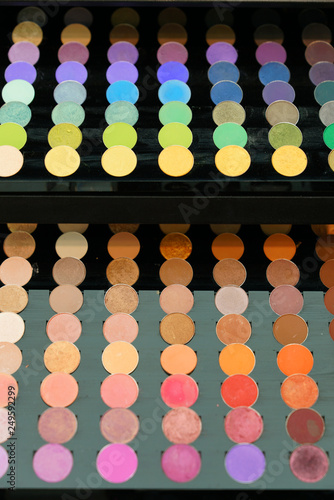 Colorful display palette of round make-up  - 249592299