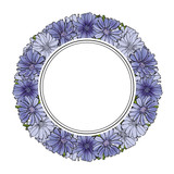 Vector illustration of blue cornflowers in circle shape with empty space for text.