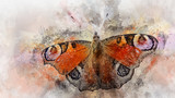 Watercolor image of a butterfly on a vintage background. Butterfly close-up. Handmade illustration. Animal world of insects.