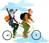 Young couple travelling on a tandem bicycle, flashing a victory sign, EPS 8 vector illustration