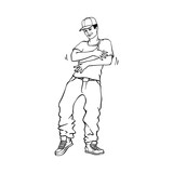 Hip-hop or rap style concept with young man in sneakers and snapback standing in rapper style.