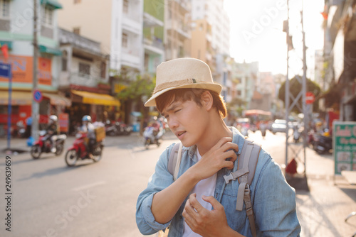 Young Asian traveling backpacker in Cho lon in Chinatown, Saigon - 249639659