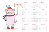 Calendar and Funny and cute pig in red hat and scarf  holding sign 2019,