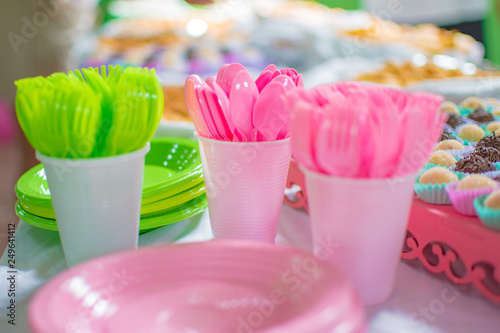forks and spoons and cutlery plastic spoon colorful party salty sweets children's parties children - 249641412