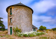 france; brittany,belle-île-en-mer  island  :  old mill and flowers