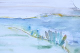Graphic Water Color Illustration White and Blue