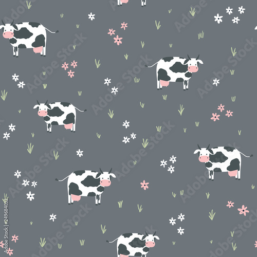 obraz lub plakat Seamless childish pattern with cows