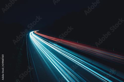 Leinwanddruck Bild Daten-autobahn in der Nacht