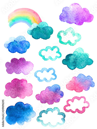 Seamless pattern with cute watercolor clouds - 249696245