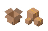 Carton packaging box. Isometric carton packaging box images with postal signs, this side up, fragile. Vector illustration. - 249700850