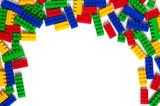 Plastic building blocks isolated on white - 249705825