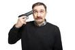 Leinwanddruck Bild - Desperate mature man pointing a gun to his head