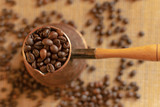 Turk with coffee beans. Traditional coffee. Close-up. - 249707828