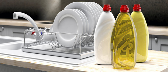 Dish soap liquid detergent containers in plastic bottles on kittchen dish rack background. 3d illustration © Rawf8