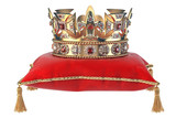 Golden crown with jewels on red velvet pillow for coronation isolated on white. - 249723660