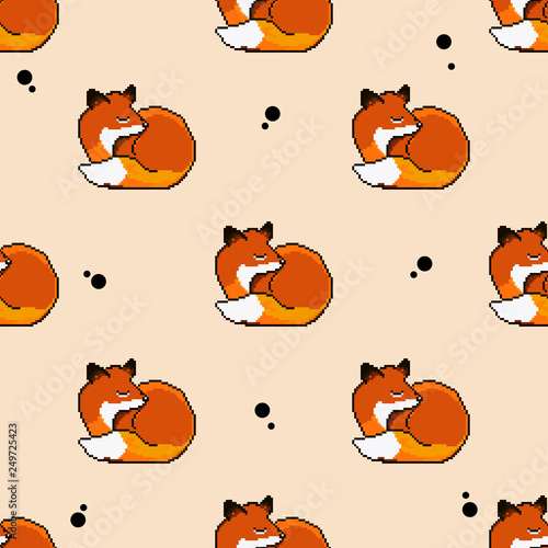 fototapeta na ścianę Vector seamless pattern of cute pixel art fox. Pixel art. 8 bit.