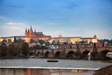 Beautiful Cityscape of Prague at night with Charles Bridge(Karluv Most)  over Vltava river and Prague Castle, Czech Republic