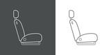 Icono plano lineal asiento de coche en gris y blanco