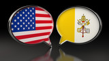 USA and Vatican City flags with Speech Bubbles. 3D illustration