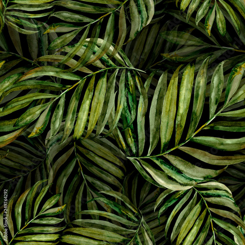 tropical pattern, green palm, watercolor leaves © illustratrice Manu