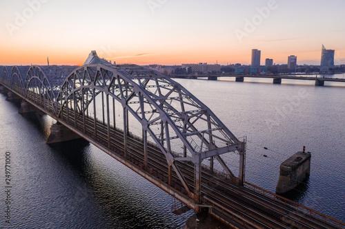 Train bridge over Daugava river in Riga, Latvia.